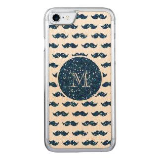 Coque En Bois iPhone 7 Motif de moustache de scintillement de bleu marine