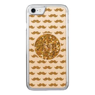 Coque En Bois iPhone 7 Motif de moustache de scintillement d'or votre