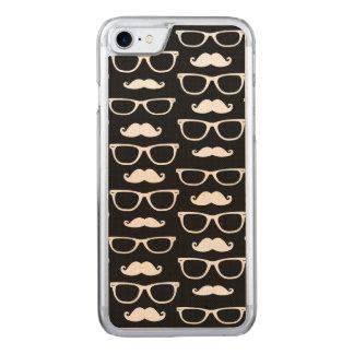 Coque En Bois iPhone 7 Noir de motif de point de moustache et en verre de