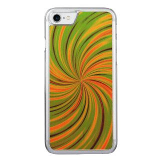 Coque En Bois iPhone 7 Orange heureuse et verte (c)