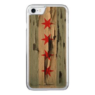 Coque En Bois iPhone 7 Peau de peinture de drapeau de Chicago