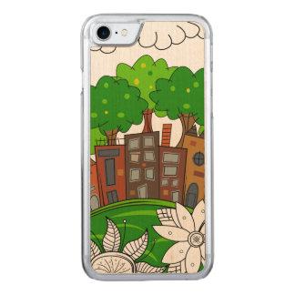 Coque En Bois iPhone 7 Petite illustration de ville