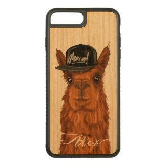 Coque En Bois iPhone 7 Plus Alpaga frais et drôle avec un chapeau de