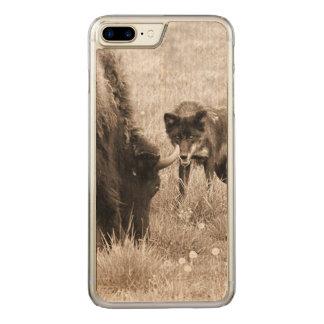 Coque En Bois iPhone 7 Plus Bison agressif de chasse de loup