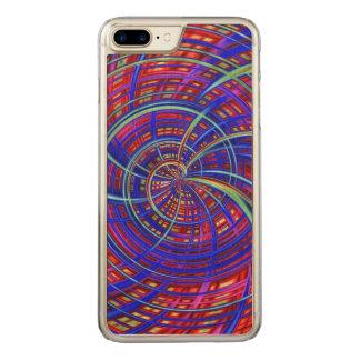 Coque En Bois iPhone 7 Plus Bleu heureux et rouge (c)