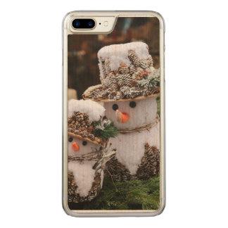 Coque En Bois iPhone 7 Plus Bonhommes de neige utilisant le casquette de