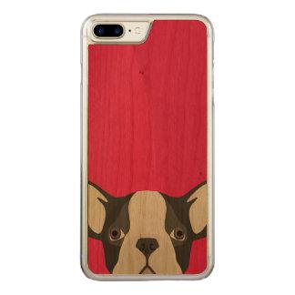 Coque En Bois iPhone 7 Plus Bouledogue français d'illustration avec l'arrière