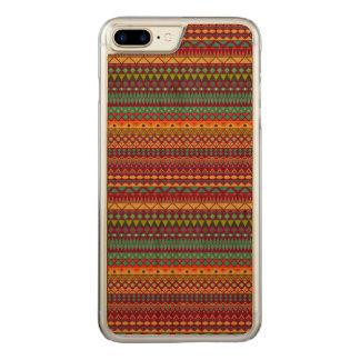 Coque En Bois iPhone 7 Plus Conception abstraite rayée tribale de motif