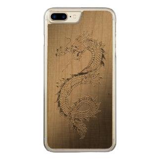 Coque En Bois iPhone 7 Plus Dragon vintage