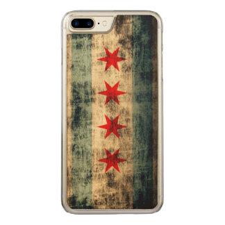 Coque En Bois iPhone 7 Plus Drapeau grunge vintage de Chicago