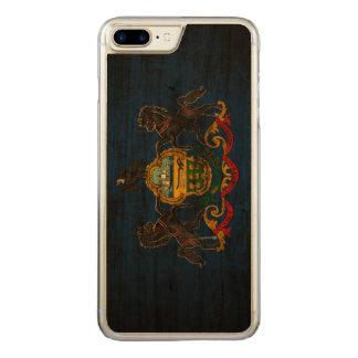 Coque En Bois iPhone 7 Plus Drapeau grunge vintage d'état de la Pennsylvanie