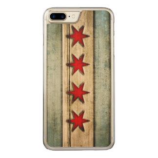 Coque En Bois iPhone 7 Plus Drapeau vintage de Chicago affligé