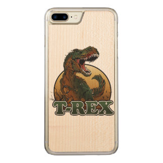 Coque En Bois iPhone 7 Plus illustration brune et verte de t-rex