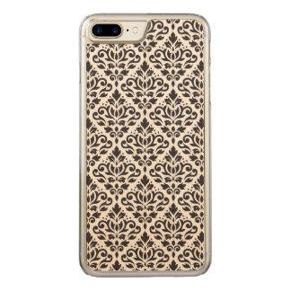 Coque En Bois iPhone 7 Plus Noir de motif de damassé de rouleau