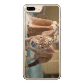 Coque En Bois iPhone 7 Plus Porc drôle et le gâteau