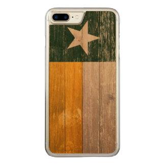 Coque En Bois iPhone 7 Plus Vert et bois peint de drapeau du Texas d'or vieux
