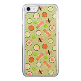 Coque En Bois iPhone 7 Vert mignon de motif de sushi