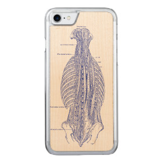 Coque En Bois iPhone 7 Vieille illustration d'anatomie le dos