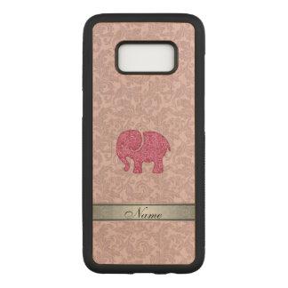 Coque En Bois Samsung Galaxy S8 Damassé adorble mignonne rose d'éléphant