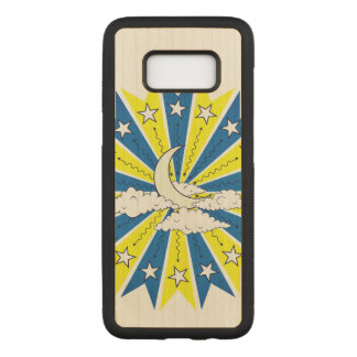 Coque En Bois Samsung Galaxy S8 Illustration abstraite d'horizon de nuit