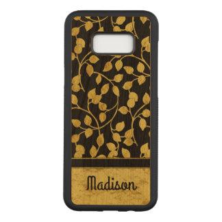Coque En Bois Samsung Galaxy S8 Plus Feuille botanique de feuille d'or de Faux, vignes,