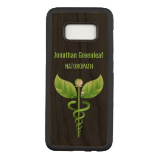 Coque En Bois Samsung Galaxy S8 Symbole médical alternatif de Medicin de caducée