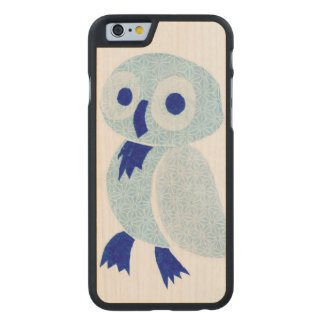 Coque En Érable iPhone 6 Case Hibou bleu sur le bois blanc