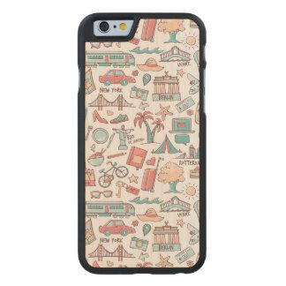 Coque En Érable iPhone 6 Case Motif de touristes en pastel