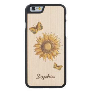 Coque En Érable iPhone 6 Case Nom fait sur commande vintage de tournesol et de