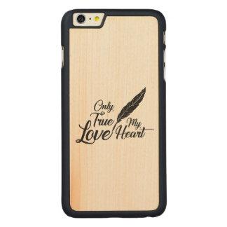 Coque En Érable iPhone 6 Plus Véritable plume d'amour d'illustration