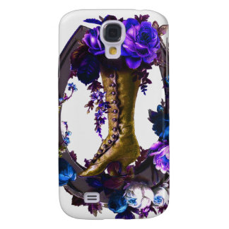 Coque Galaxy S4 Botte florale vintage de Goth et fer à cheval