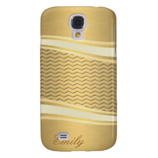 Coque Galaxy S4 Chevron à la mode de luxe d'or d'attracutve