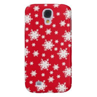 Coque Galaxy S4 Conception rouge et blanche de flocon de neige