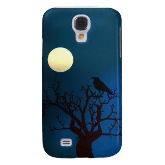 Coque Galaxy S4 Corneille dans l'arbre sous le clair de lune
