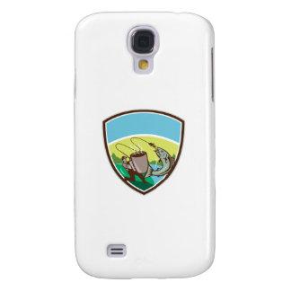 Coque Galaxy S4 Crête saumonée de tasse de pêcheur de mouche rétro