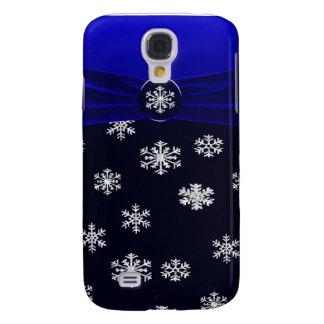 Coque Galaxy S4 Étincelle élégante bleue et blanche de flocons de