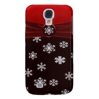 Coque Galaxy S4 Étincelle élégante rouge et noire de flocons de