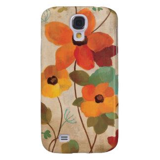 Coque Galaxy S4 Fleurs colorées sur un arrière - plan blanc
