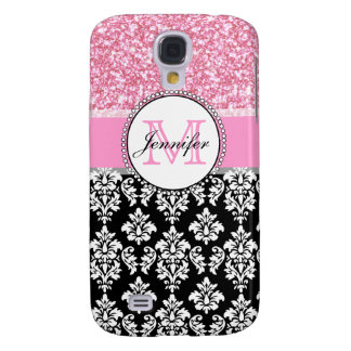 Coque Galaxy S4 Girly, rose, scintillent la damassé noire