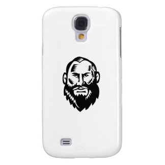 Coque Galaxy S4 Grande gravure sur bois masculine en barbe