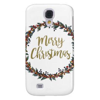 Coque Galaxy S4 Guirlande d'aquarelle - Joyeux Noël - branches