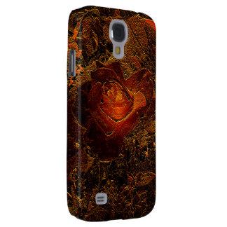 Coque Galaxy S4 L'éclat d'orange d'impression de fleur s'est levé