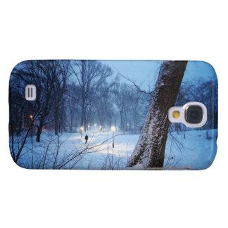 Coque Galaxy S4 Lumières d'hiver sur un chemin d'enroulement