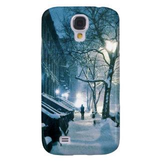 Coque Galaxy S4 Maisons de grès couvertes dans la neige