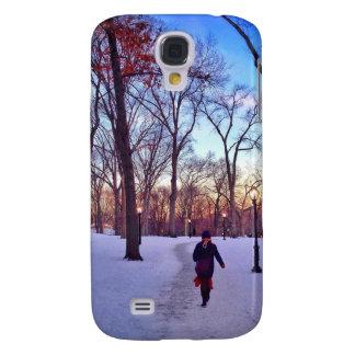 Coque Galaxy S4 Marche sous un coucher du soleil d'hiver