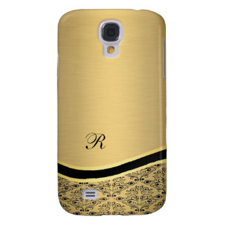 Coque Galaxy S4 Monogramme d'or de luxe fascinant adorable de