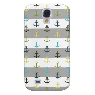 Coque Galaxy S4 Motif coloré d'ancre sur l'arrière - plan rayé
