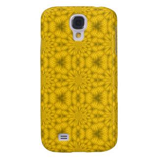 Coque Galaxy S4 Motif en bois abstrait jaune