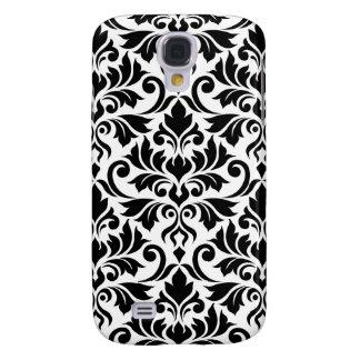 Coque Galaxy S4 Noir de motif de damassé de Flourish grand sur le