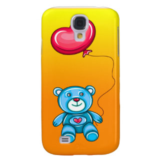 Coque Galaxy S4 Ours de nounours bleu avec le ballon de coeur